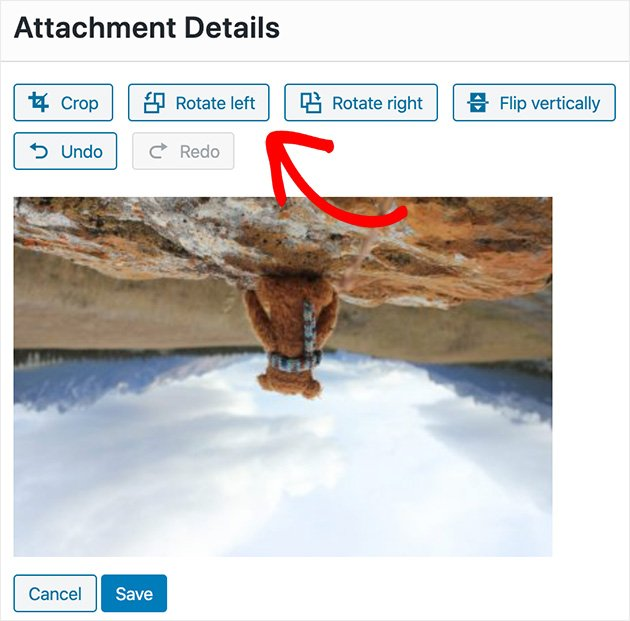 Use WordPress to rotate an image by clicking rotate left or rotate right.
