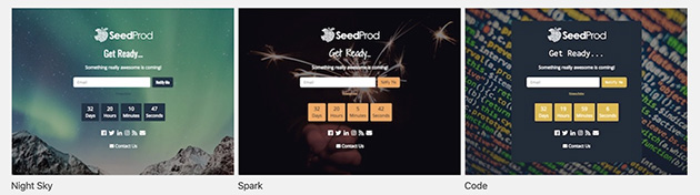 SeedProd have a range of pre-build templates for your coming soon page.