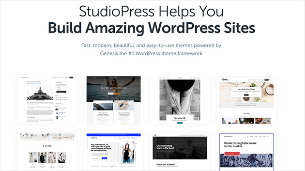 StudioPress WordPress themes homepage
