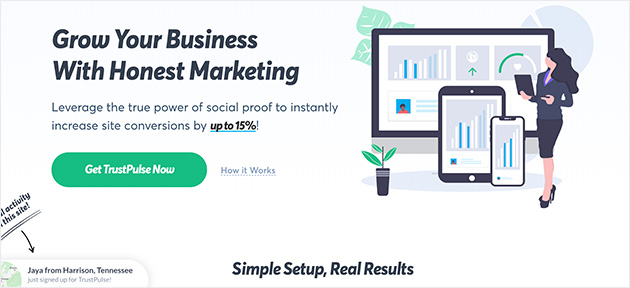 TrustPulse social proof popup notification plugin with fomo