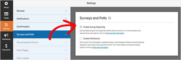 enable the survey reporting settings in WPForms