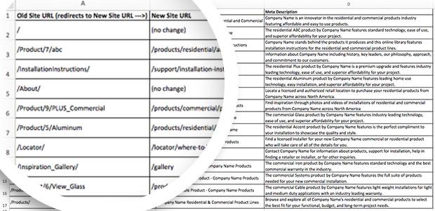 Change to website spreadsheet