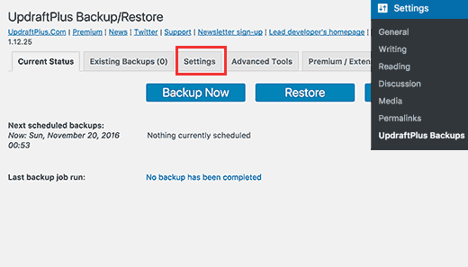 Crearte a website backup