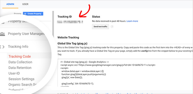Copy your Google Analytics Tracking ID from the tracking info section