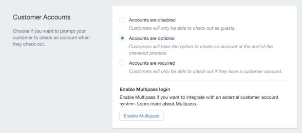 shopify customer accounts optional