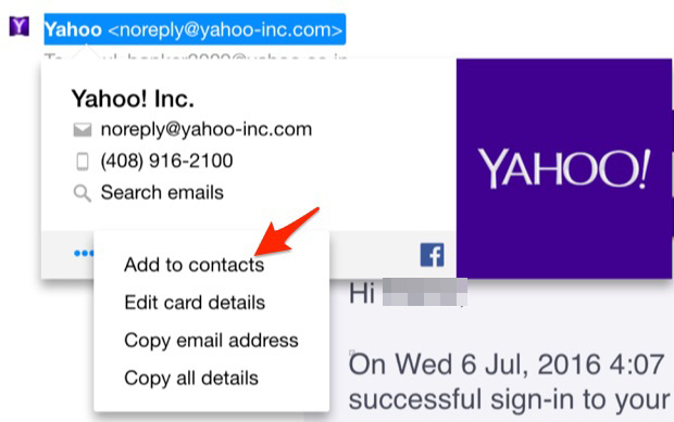 Add to contacts in yahoo mail