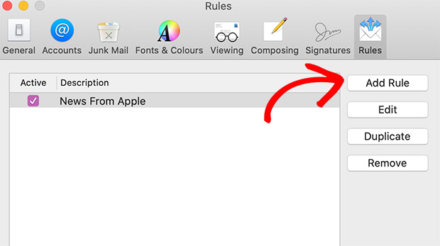 Add new rule in apple mail