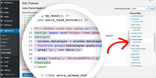 You can add Google Analytics to WordPress by adding the code to the header file.