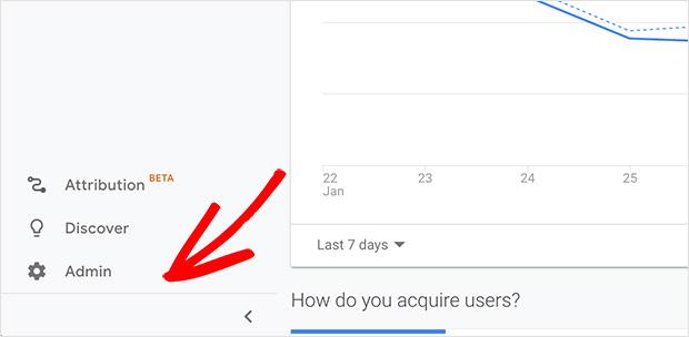 Analytics admin area Google