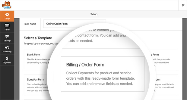 Billing / Order form template in WPForms