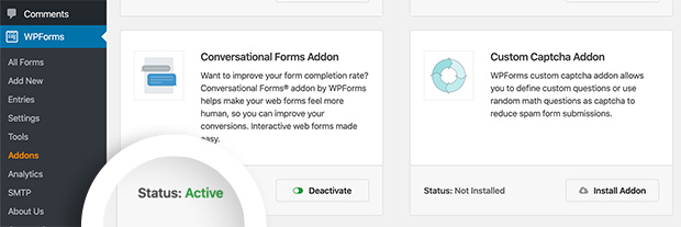 Conversational Forms Addon active status