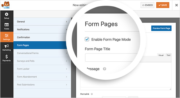 Edit form pages in WPForms