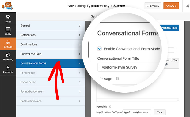 Enable Conversational Forms Mode