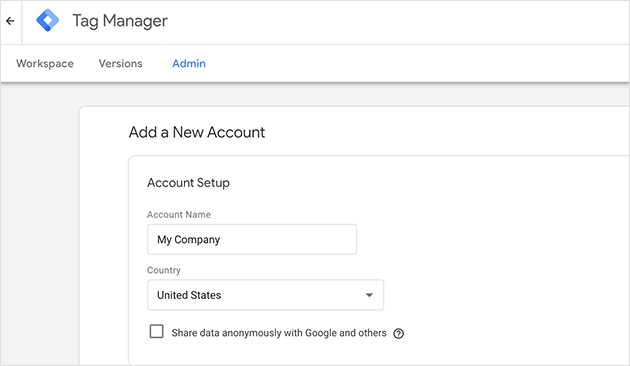 New Google Tag Manager Account
