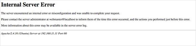 WordPress internal server error