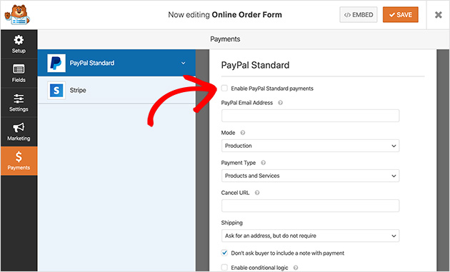 Enter your PayPal payment settings