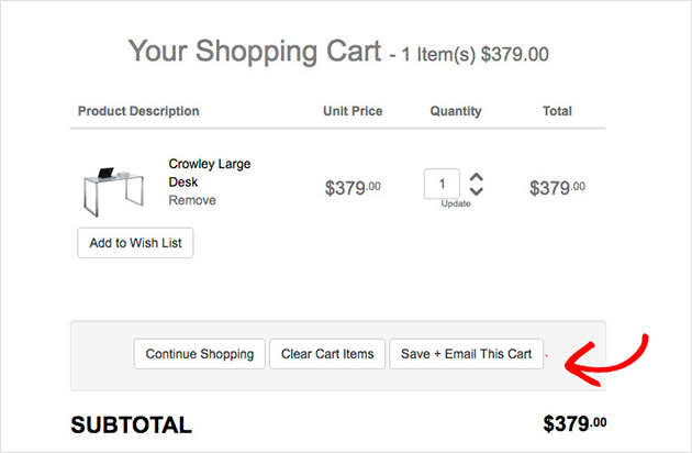 save your shopping cart
