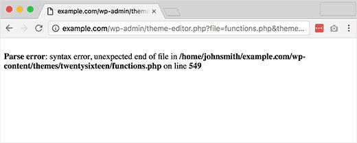 syntax parse error wordpress