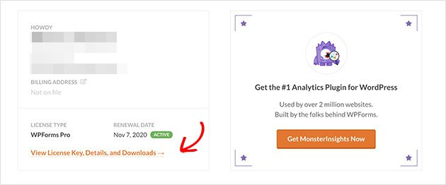 click the view license key, details, and download link in your account dashboard