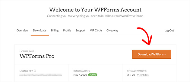 Click the orange button to download WPForms contact form plugin