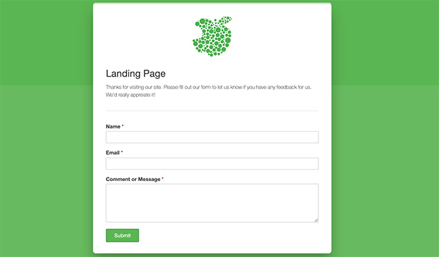 WPForms published landing page