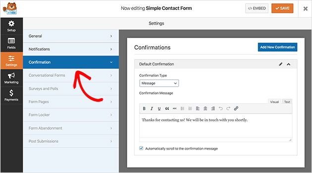 WPForms contact form Confirmation message