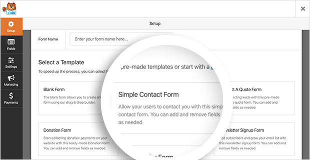 Use the WPForms simple contact form template to create a contact form in WordPress