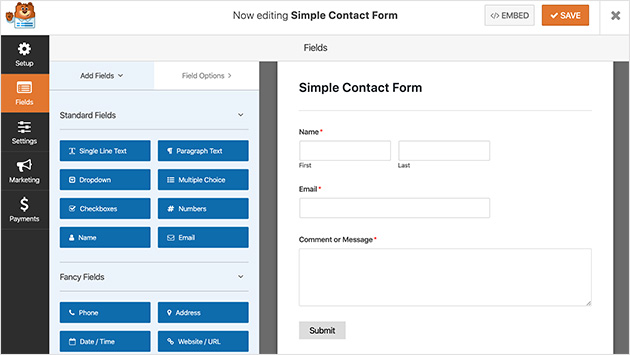 WPForms adds a simple contact form in WordPress