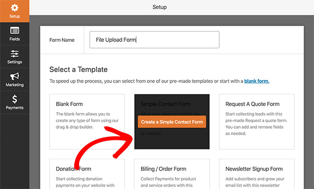 Add a new file upload form to WordPress