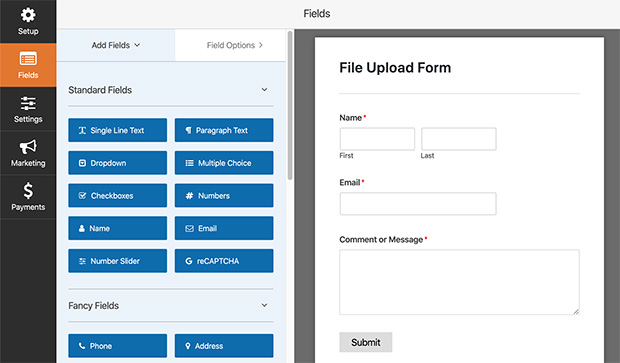 form builder for file upload wordpress form