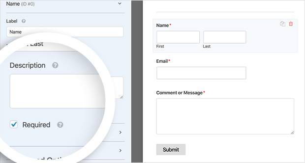 make form fields a requirement for people using your contact form