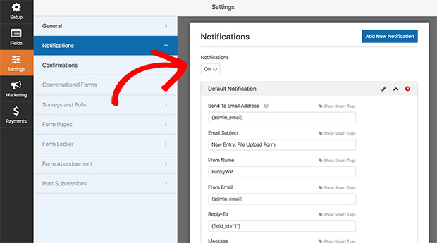 Set the notifications for your wordpress file upload form