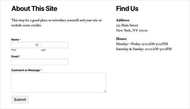 Contact form published in your sidebar