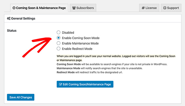 activate your coming soon page in wordpress