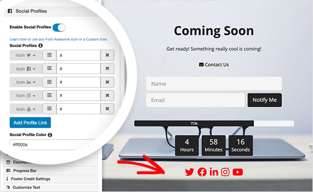 Add social profile icons to coming soon page
