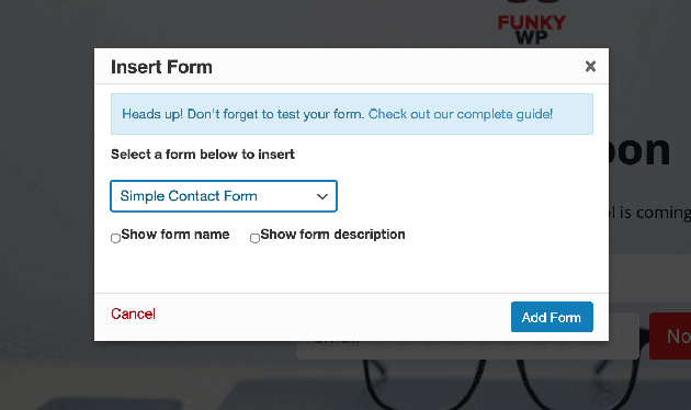 Choose your contact form from the dropdown list