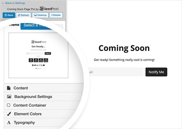 coming soon page editor