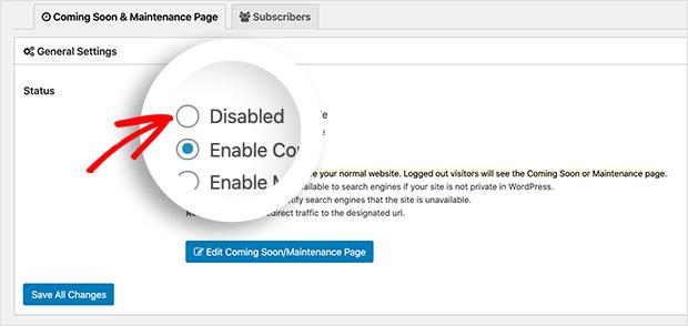 Disable maintenance mode in wordpress