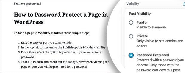 protect posts with a wordpress password protect page