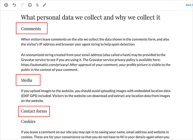 Privacy policy data collection sections