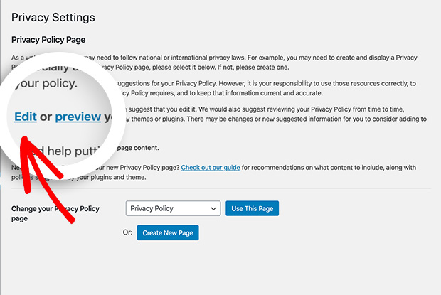 Edit wordpress privacy policy draft
