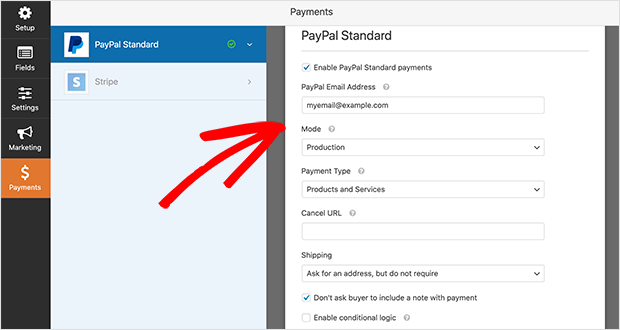 event registration form PayPal settings