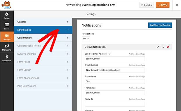 registration form notification settings