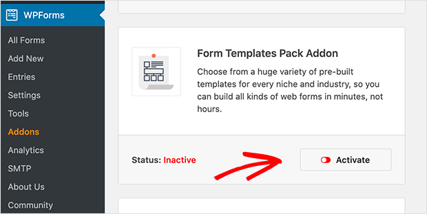 Form templates pack addon for WPForms