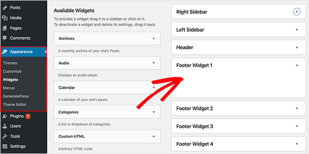 Locate your theme's footer widget areas