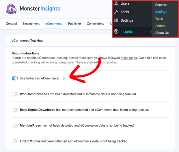 Use Enhanced eCommerce in MonsterInsights