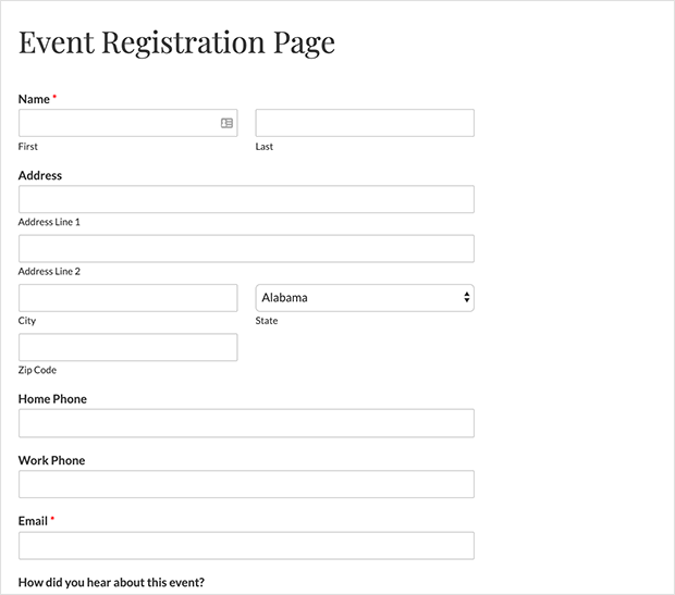 Publish your event registration form