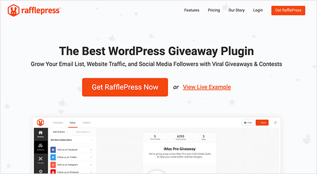 RafflePress WordPress giveaway plugin for lead generation