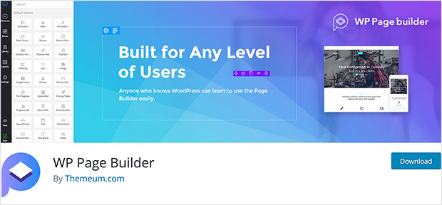 WP Page Builder is the top free WordPress page builder plugin