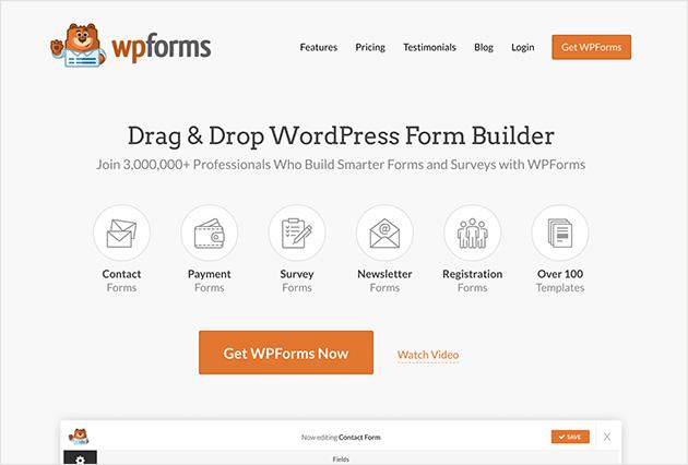 wpforms WordPress landing page plugin